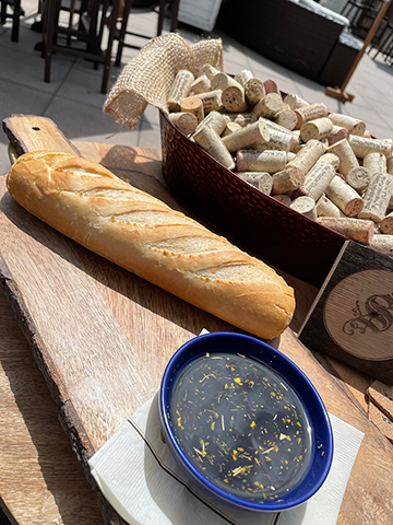 Image of baguette and dipping oil