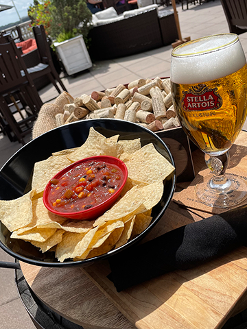 Image of black bean, corn and tomato salsa with chips