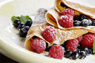 Desert crepes with mixed fruit