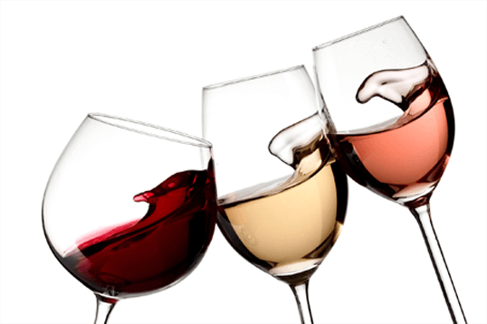Three glasses of a variety of wine